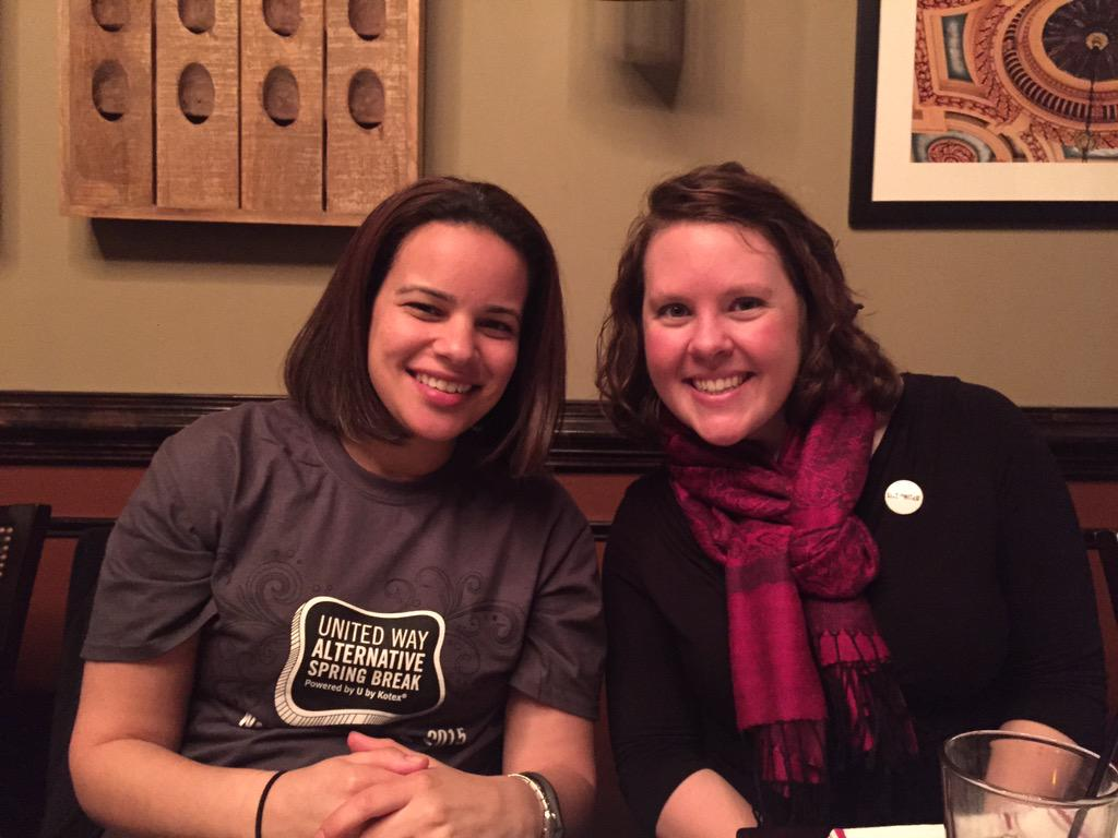 Heather Campbell eating dinner with a @LiveUnitedUWTC volunteer, Myriah during @UnitedWay Worldwide #PoweredByU ASB. http://t.co/hGPhmX60c3