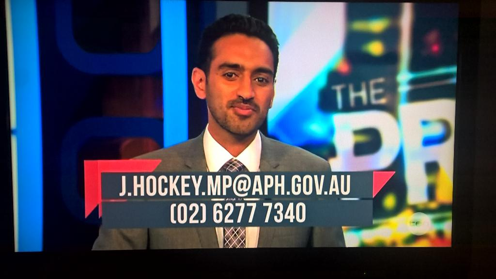 Waleed on @theprojecttv showed @joehockey's email and phone number #DropsTheMic #AusPol #NegativeGearing http://t.co/qTOBeNFKcE