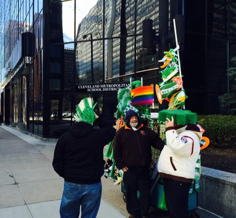 Prepping for #CLEStPats outside CMSD offices #Parade at 1:04p http://t.co/fE4zbUGvB8