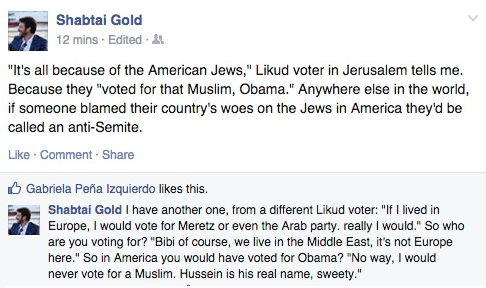 "Meantime in Jerusalem, Likud voters blame US Jews for ""voting in that Muslim, Obama"" h/t @velvetart #IsraelElections http://t.co/jxthKfMHjQ"