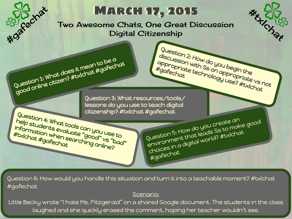 Excited for today's combined #gafechat and #txlchat chat on Digital Citizenship. http://t.co/gWi5xb7hGl