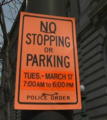 Coming down for the parade? This sign is serious. It'll ruin your day. Dude where's my car? Park legally #CLEStPats http://t.co/rbjCQ7nV51