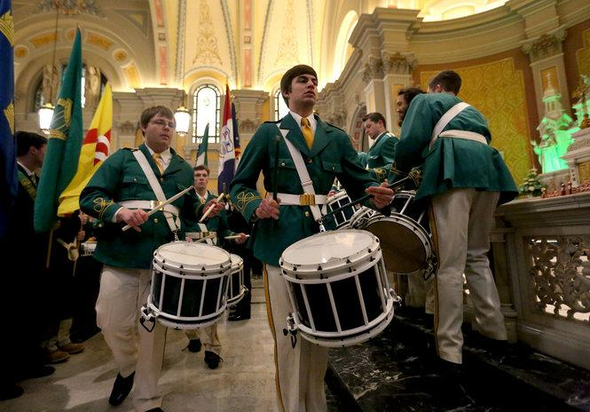 Drummers perform during the 45th annual St. Patrick's Day mass inside St. Colman's (Marvin Fong / The Plain Dealer) http://t.co/qItYIbB8I5
