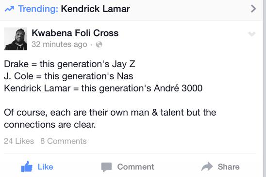 A pretty dope comparison by the Homie @SonofHughes!  Drake - Jay Z Cole - Nas Kendrick - Andre 3000 http://t.co/4UwHq49w98