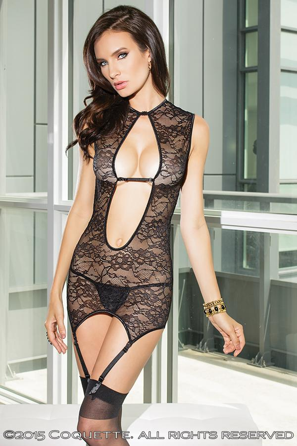 Coquette Womens Reversible Stretch Lace Chemise