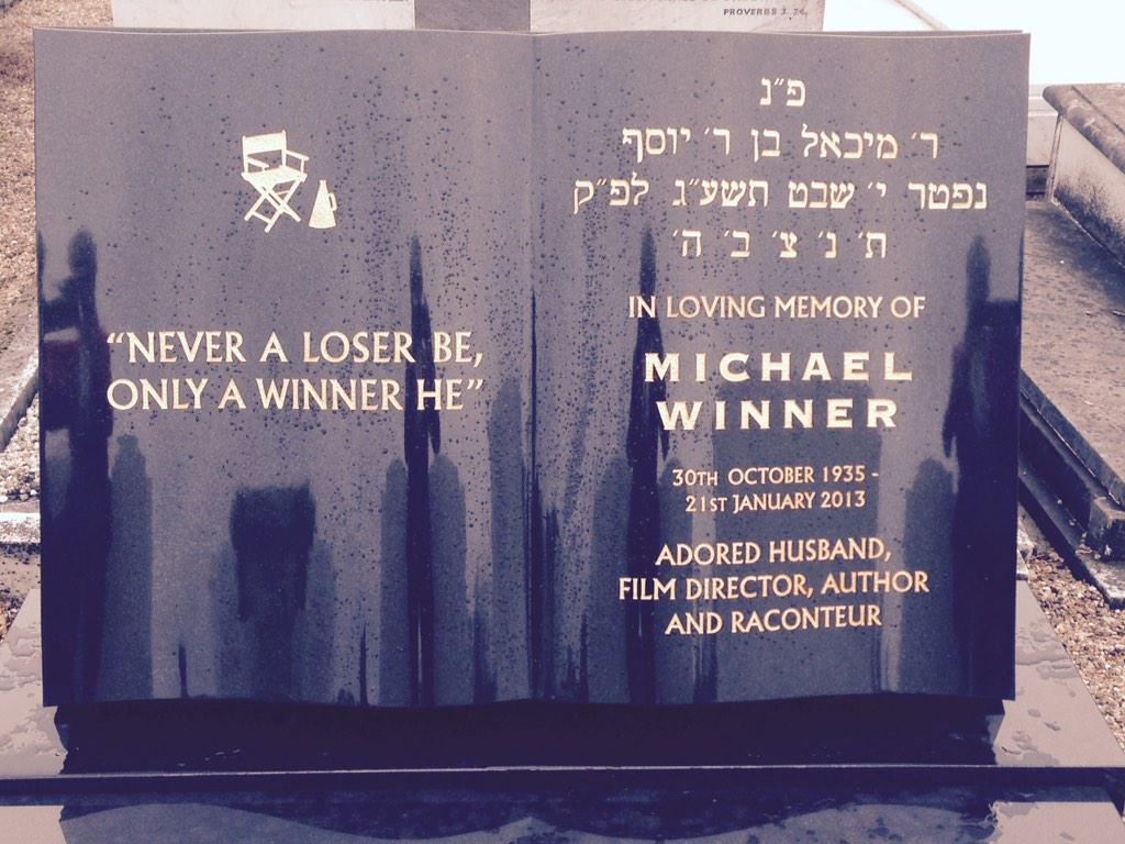 """Here at long last is Michael's headstone """"Never a loser be, only a Winner he"""".  A fitting tribute to a great man - GW http://t.co/JHzumtLQuY"""
