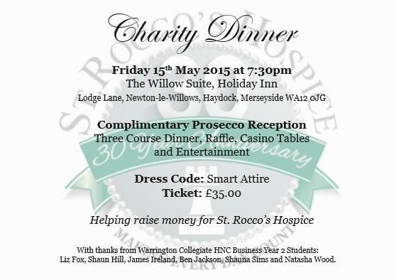 I'm holding a dinner on 15 May at Holiday Inn, Haydock to raise money for St. Roccos Hospice. Would you like to come? http://t.co/BoYwzUEBvl