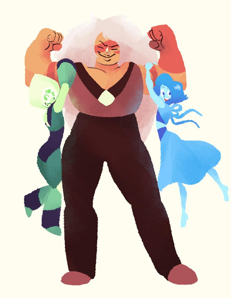 """Check out these gals with guns. #Jasper #Lapis #Lapislazuli #Peridot #stevenUniverse"""