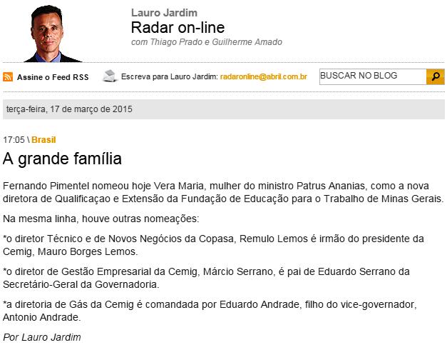 Mais um caso de nepotismo no governo de Fernando Pimentel, do PT http://t.co/w1z4bvXSxh http://t.co/FEIvaUfMnt