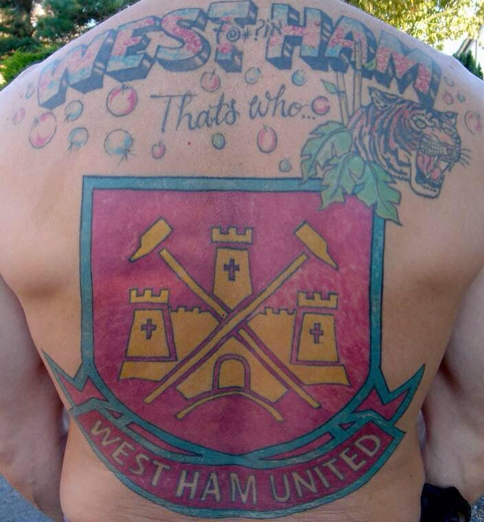 West Ham superfan plasters huge tattoo across his back ...