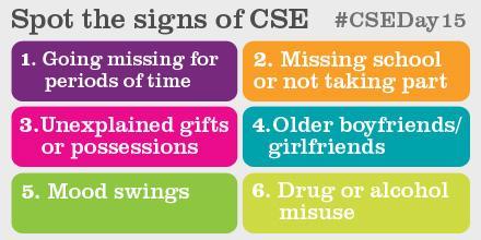 Pls RT: Spot the signs of #ChildSexualExploitation http://t.co/i2XI99WREm #CSEDay15 http://t.co/lYBIYMOBN0