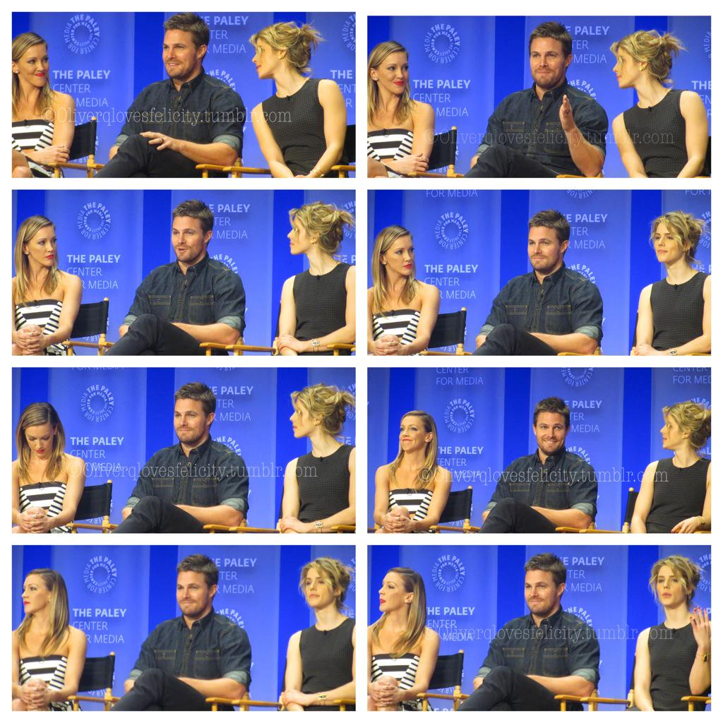 More Arrow Paley pics. Here's KC reaction to SA response to the olicity question. #notshowedonthelivestream. #awkward http://t.co/7XKVWADzH1