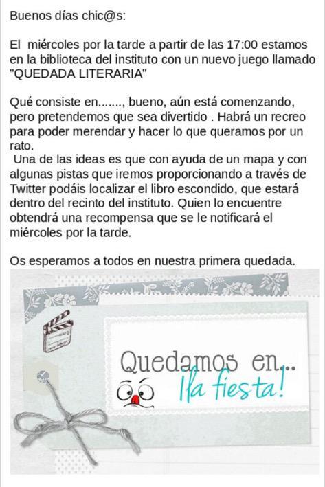 #quedadaliteraria #bibliotecaiescartima @proyectocartama nueva sesión hoy a las 17:00 http://t.co/lfwNzYVhuI