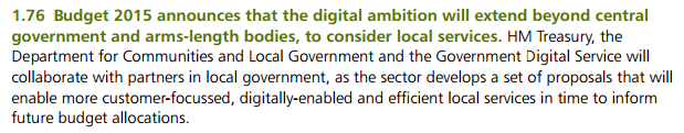 Budget 2015 - Digital ambition extends beyond central to consider local services