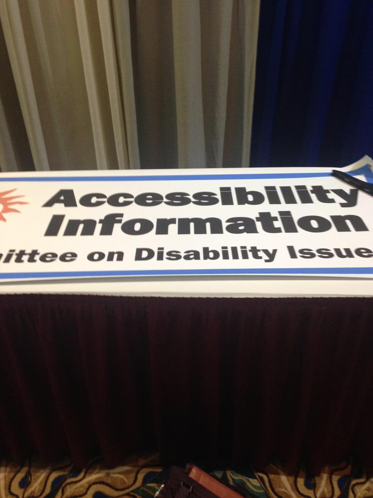 Getting the #accessibility table all set up! Come by and see us tomorrow, next to the Newcomers Table! #4C15 http://t.co/7K7Ei7z4On