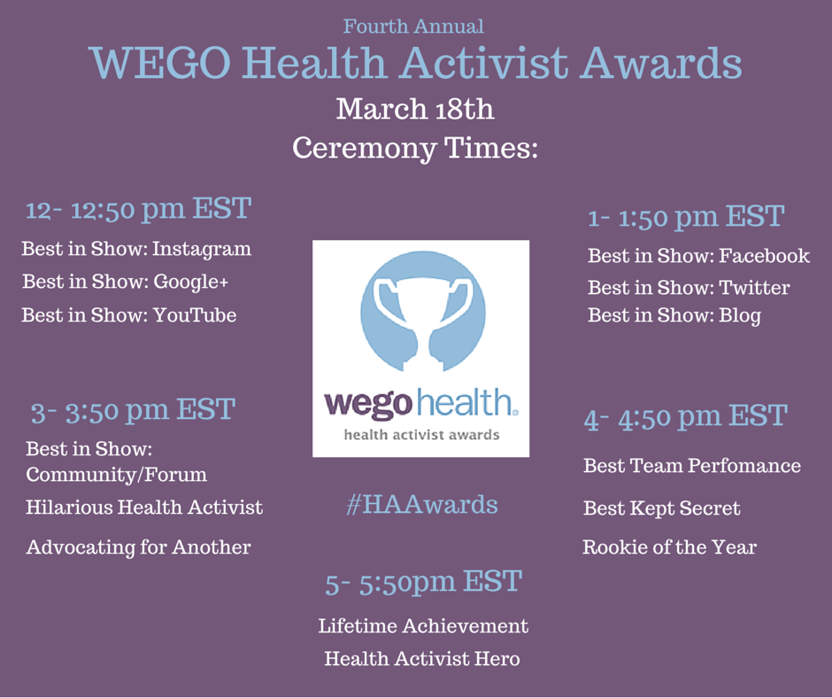 Today is the day! The #HAAwards ceremony is starting at 12pm EST on WEGO Health's Twitter, Facebook and G+ pages http://t.co/kzAnaAs3wg
