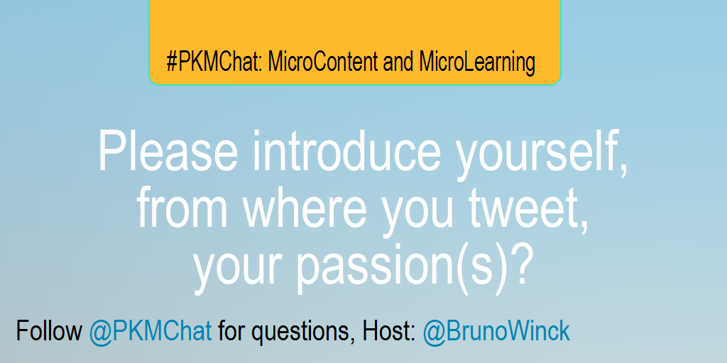 Please introduce yourself, from where you tweet, your passion(s)? #PKMChat http://t.co/pFS22W8WnA