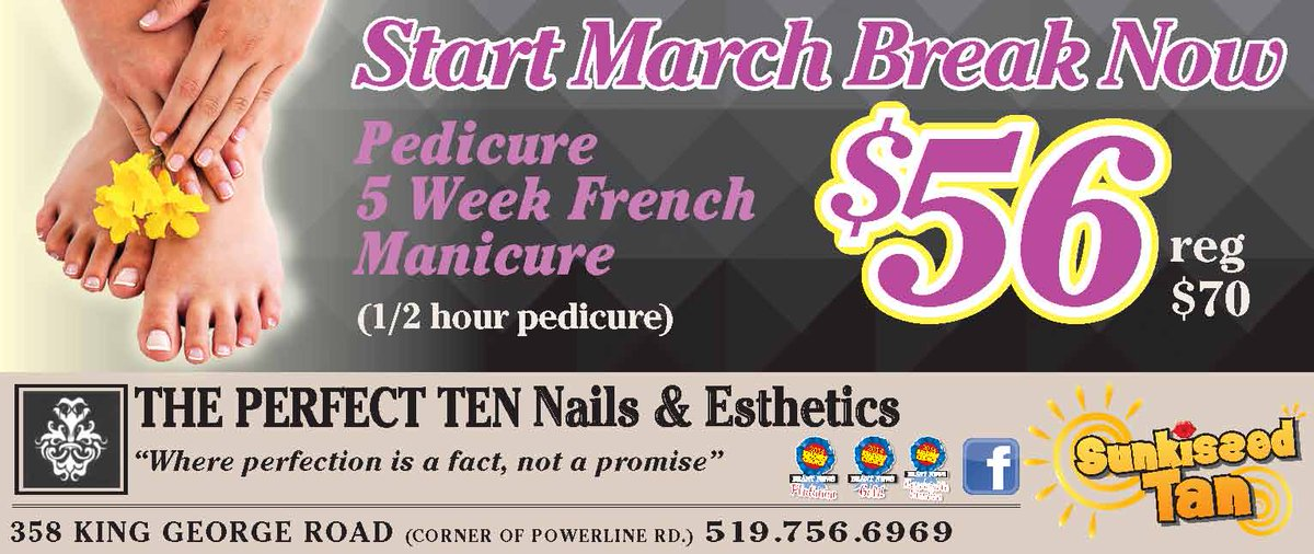 """The Perfect 10 on Twitter: """"Get #pampered this #march #break #pedicure # nails #qualityservice #awardwinning #salon #brantford http://t.co/UeRMX9cE57"""""""