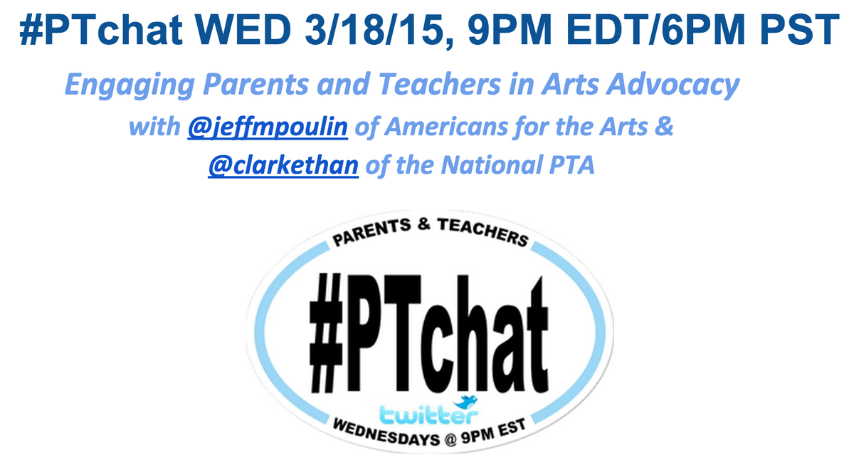 TONIGHT - Join @jeffmpoulin and @clarkethan as we discuss Engaging Parets & Teachers in #ArtsEd Advocacy #ptchat http://t.co/Reryf42TlD