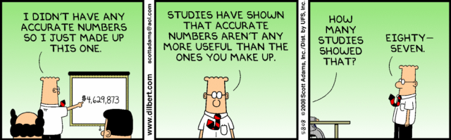87 Studies shown that accurate numbers are not more useful than the ones you make up (Dilbert)