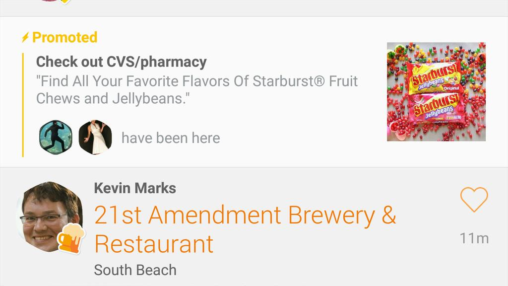 CVS advertisement screenshot of Swarm app with icon of a friend in affiliation due to checkin