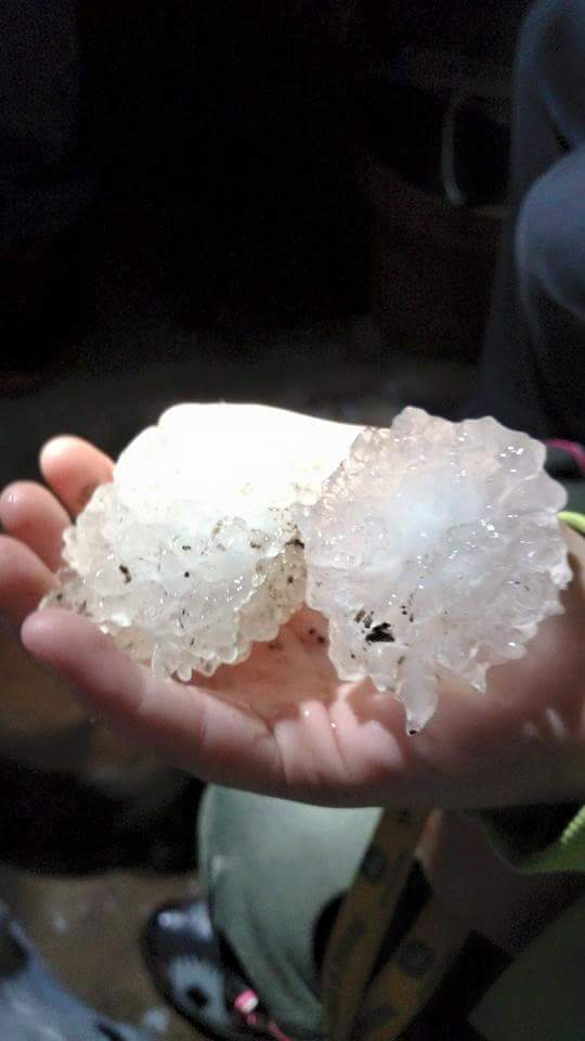 Hail size of tennis balls at 8:15 pm this evening in Watts Oklahoma http://t.co/hCXvnFRurY