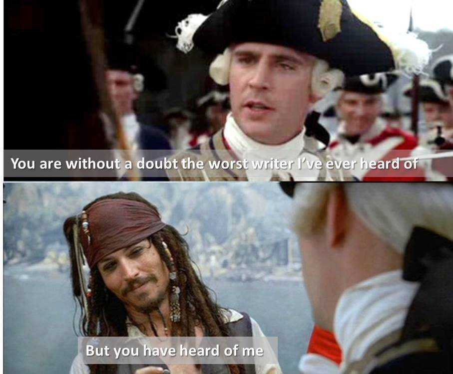 AUTHORS: Received a harsh, negative review? Take it from Jack Sparrow. It's all about perspective. :-) https://t.co/9f5UgIdacB