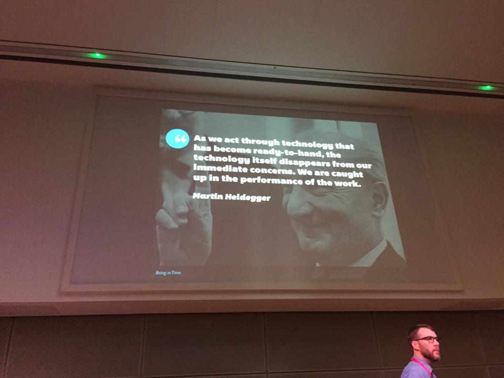 Technology becomes invisible to us, it reveals itself to us again when it's no longer intuitive  #UXLibs http://t.co/xZMF05nZ2b