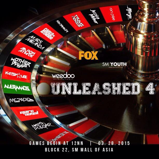 Here's the full DJ line up for #Unleashed4 #u4battleroyale 03.28.15 MOA http://t.co/mqobaZJT8W
