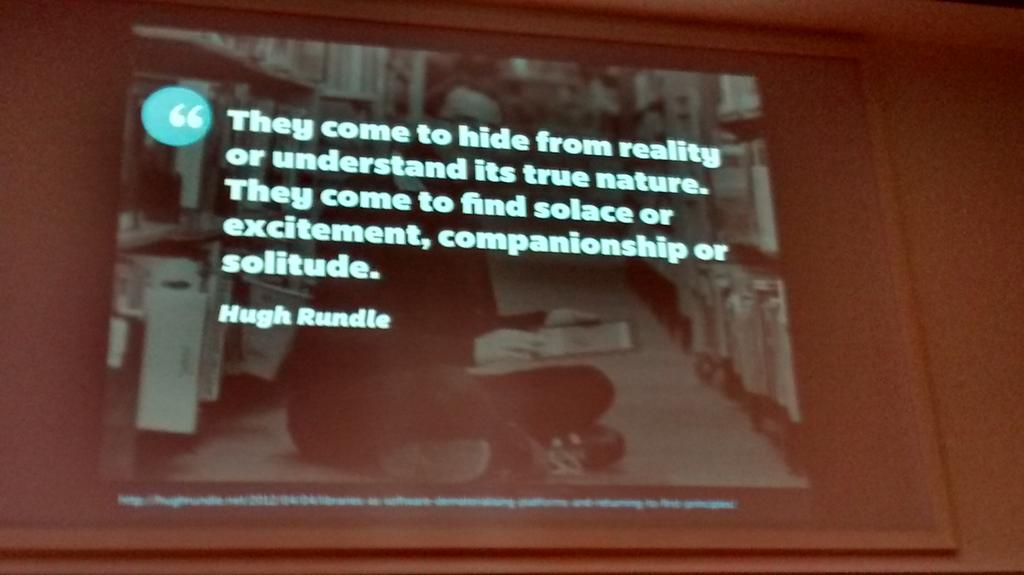 Users don't come to libraries to just do tasks. - @mreidsma #UXLibs http://t.co/PkW2WidTIj