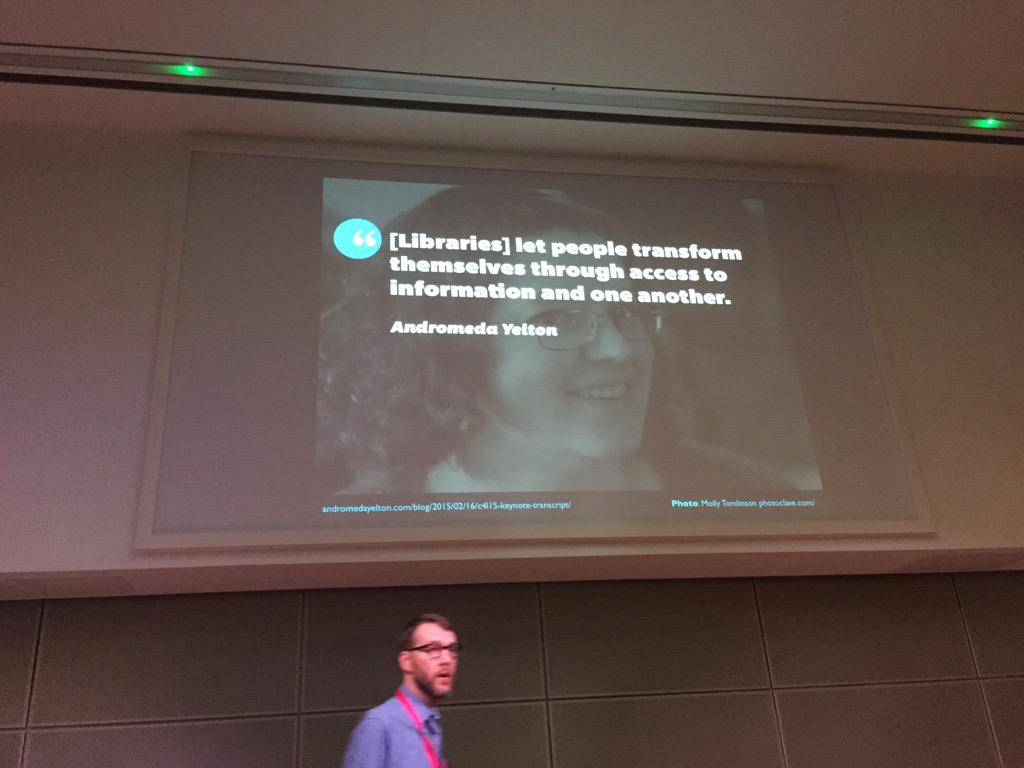 We're in the business of transforming people @mreidsma #uxlibs http://t.co/M6NKAUTiLf