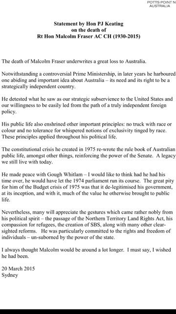 Statement from Paul Keating on the death of Malcolm Fraser http://t.co/jvR20b5Yvo