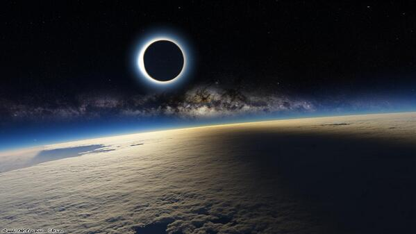 Staggering photo of the #eclipse from the International Space Station. #eclipse2015 http://t.co/SYnbmEzFLt
