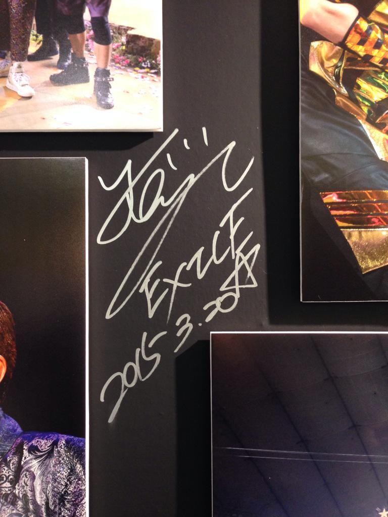 なんと!本日福岡パルコ本館6F EXILE MUSEUMにEXILEの黒木啓司さん、NESMITHさんが来てくれました!この模様は3/24(火)24:15〜KBCドォーモ OAです!お楽しみに!パネルにサインも書いてくれました〜