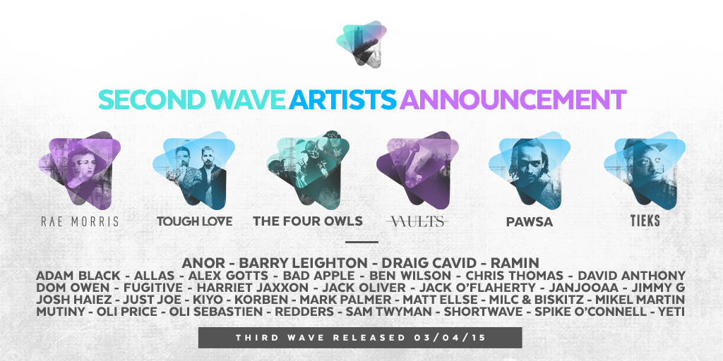 SECOND WAVE HEADLINERS  @raemorrismusic  @toughlovemusic  @TheFourOwls @vaults  @PAWSAofficial  @TIEKSmusic   #CSP15 http://t.co/dWjJ0syPET