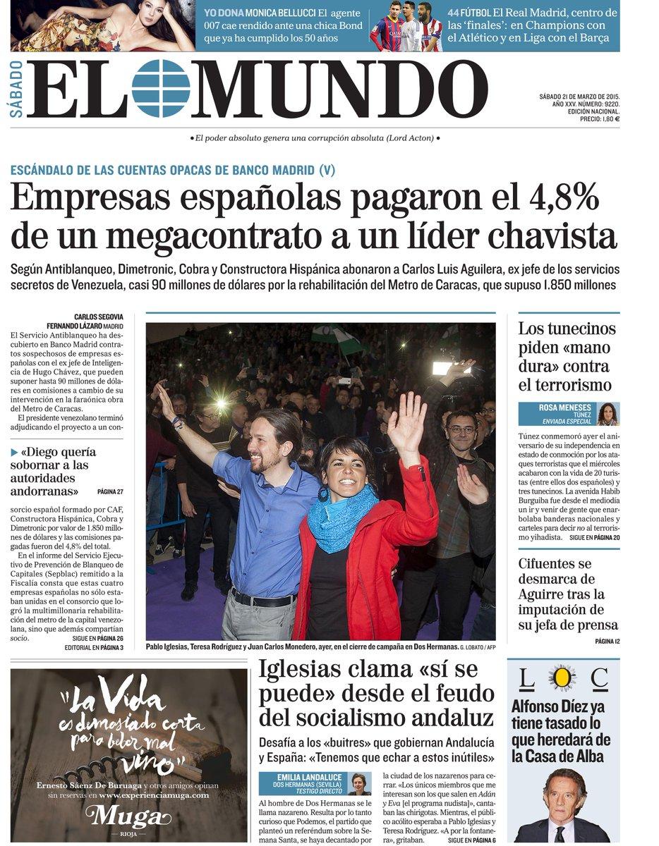 La portada de EL MUNDO de mañana http://t.co/CJmF4WUFJD