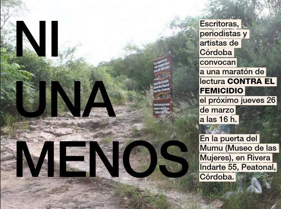 la maratón de lecturas contra el femicidio #NiUnaMenos empezó en Bs As; se suma Córdoba.  jueves 26, desde las 4pm http://t.co/rYbFmwsoGg