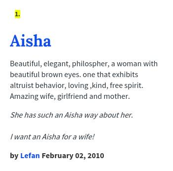 33+ Aisha meaning urban dictionary info