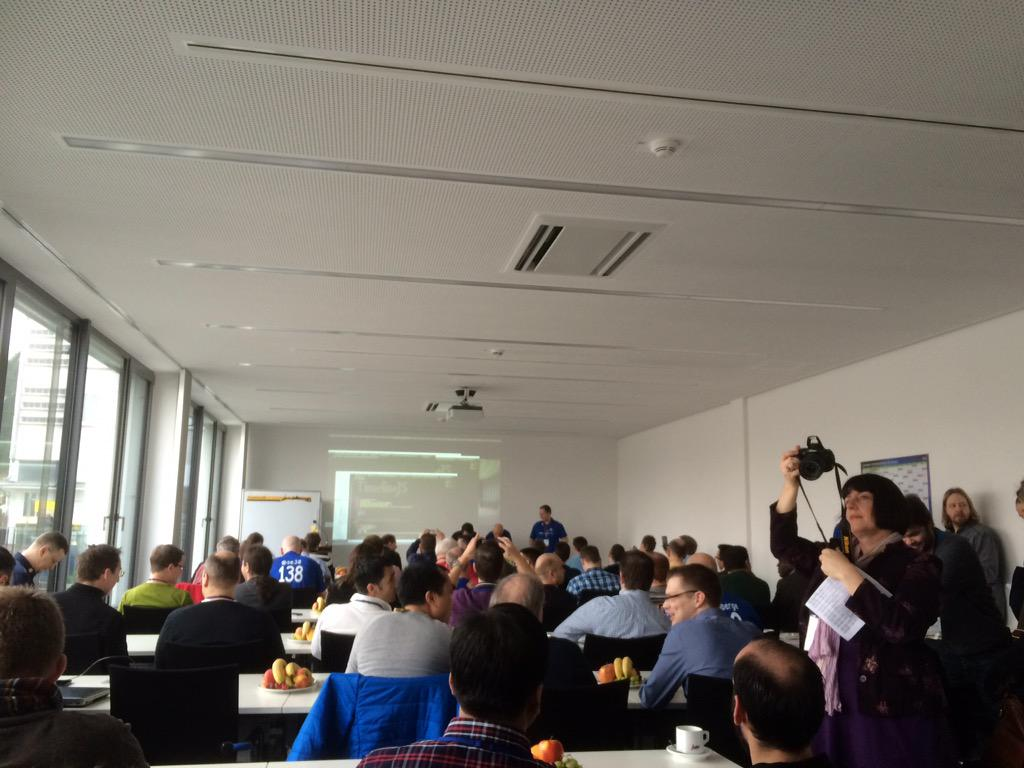 Exited about attending the first #sitFRA, and I am not alone. Sold out room full of energy! #Community @SAPMentors http://t.co/gnVjE0NAlj