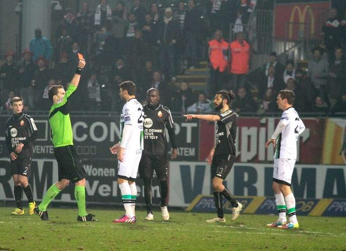 Kostovski is shown a red card