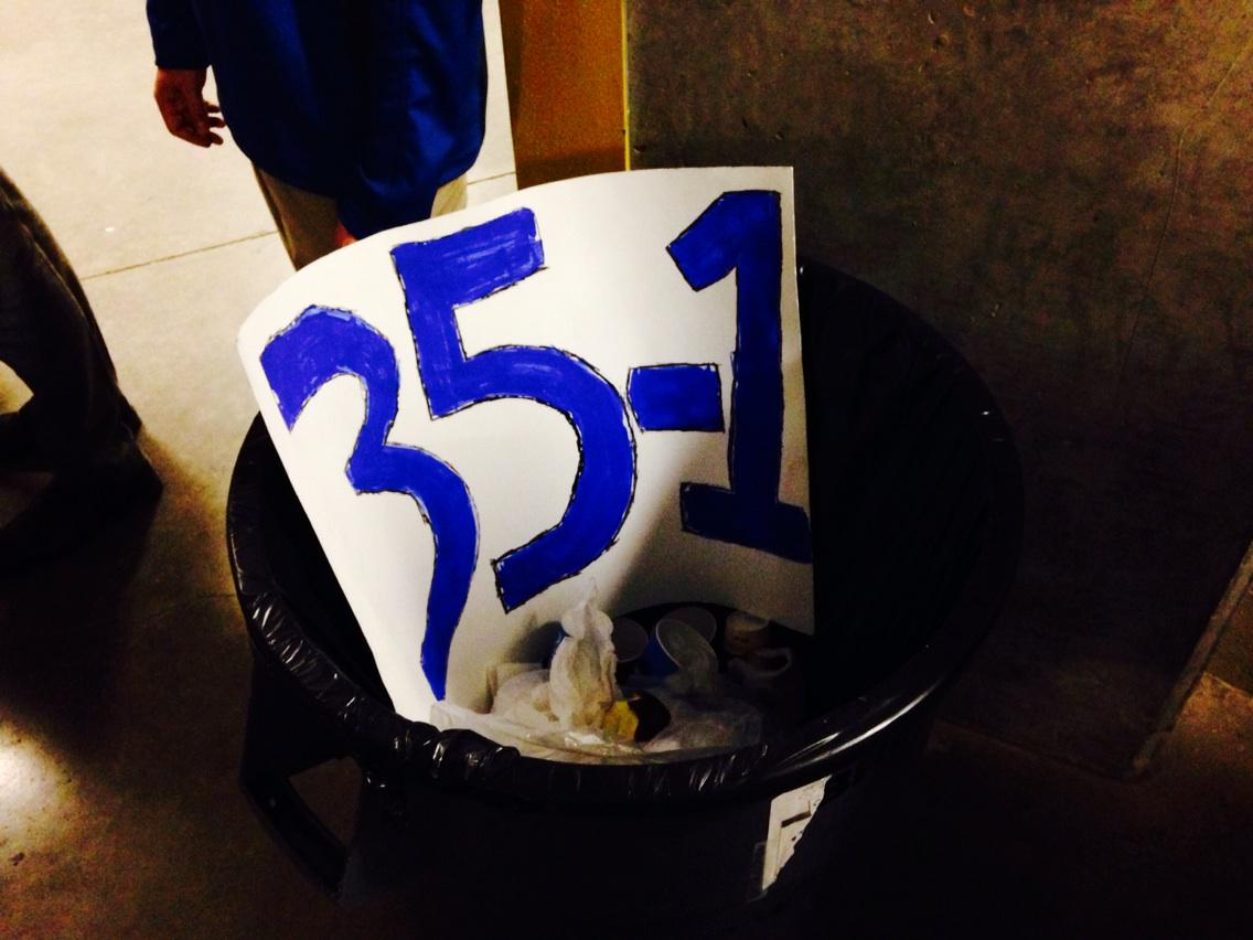 What happens to those '35-1' signs fans bring when their team plays Kentucky