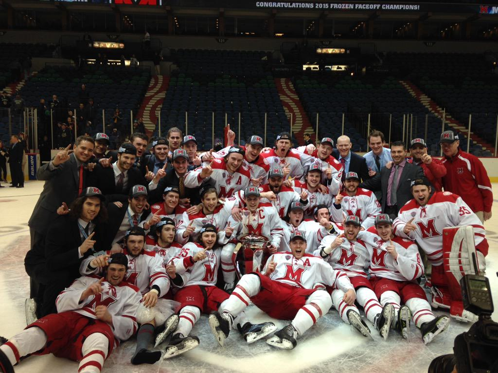 Your 2015 NCHC Tournament Champion Miami RedHawks! http://t.co/CVR7xh1eY5
