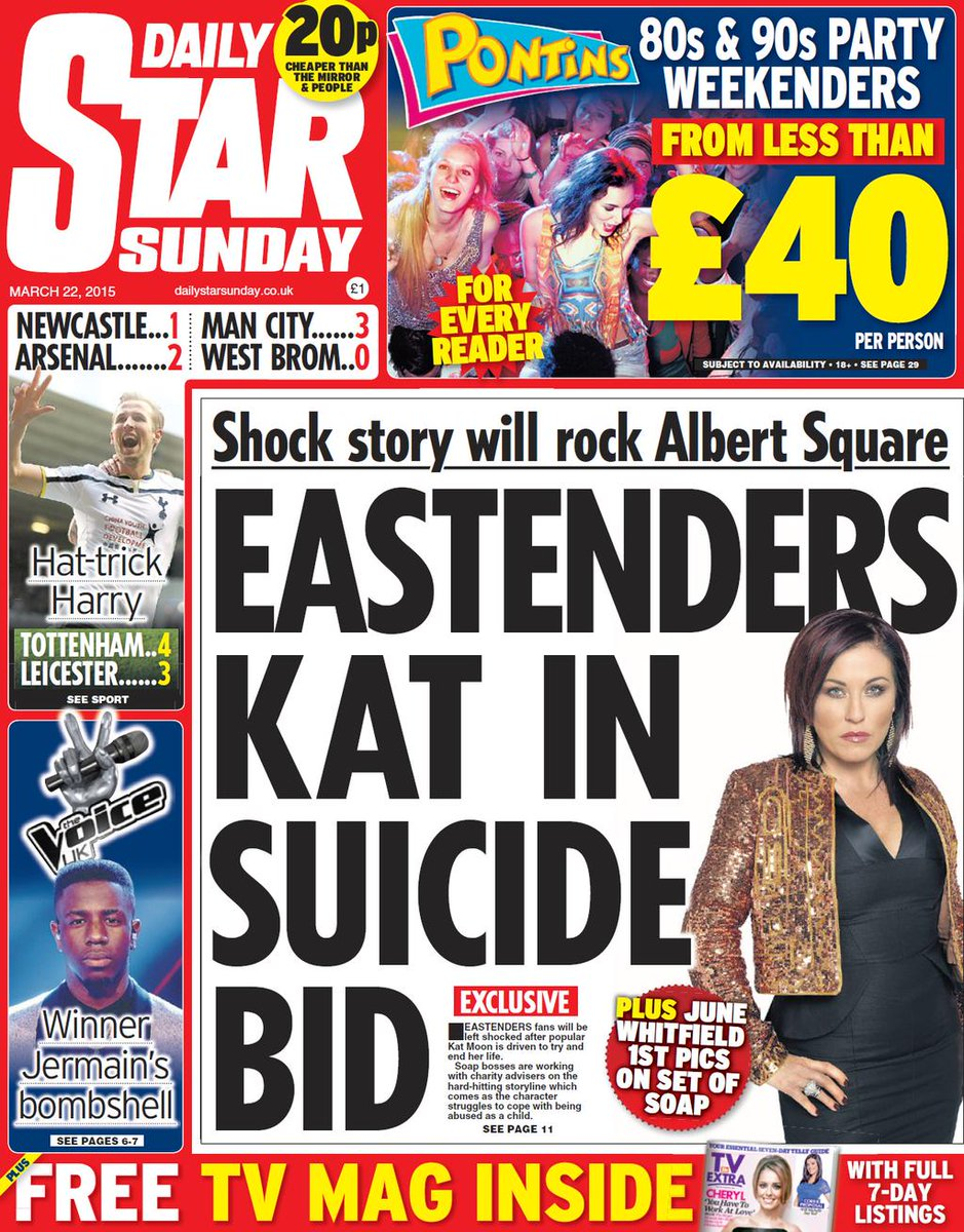 #EastEnders #exclusive @DailyStarSunday Kat Moon takes overdose in suicide bid. Massive storyline @JessieWallaceUK RT http://t.co/9X9dl7csLo