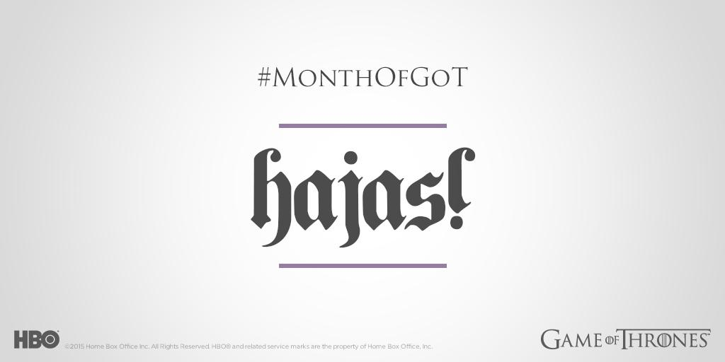21 days. Brush up on your Dothraki during today's #GoTSeason1 marathon:  http:// itsh.bo/1HiXPib     #MonthofGoT<br>http://pic.twitter.com/5tyoa2VOMu