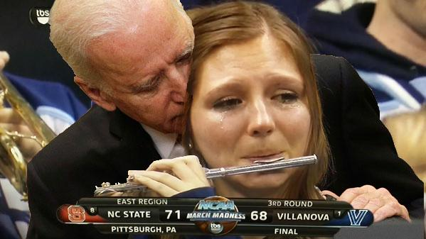 Joe Biden consoles Villanova Piccolo Girl