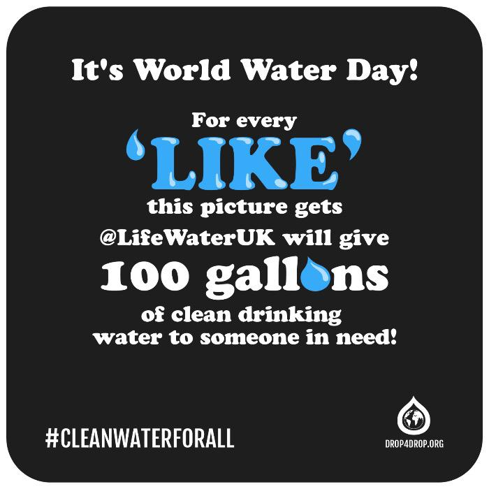 It's World Water Day! 4 every RT @LifeWaterUK will give 100 gallons clean water to someone in need. #cleanwaterforall http://t.co/t4FSwGkJoi