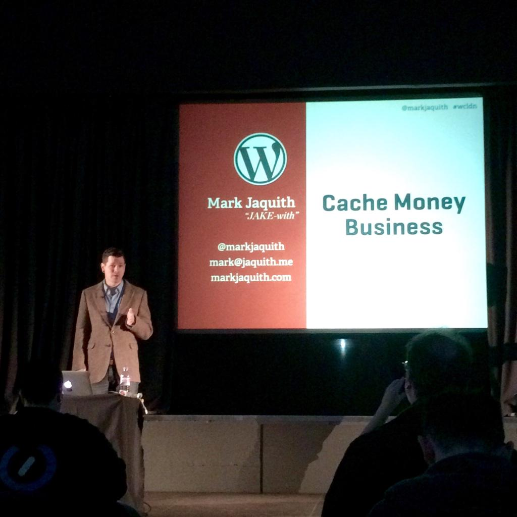 Mark Jaquith talking caching at #wcldn - photo by @davepullig on twitter