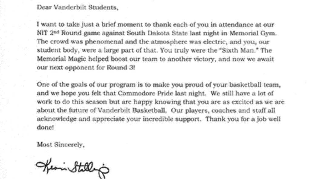 """@anchorofgold: Kevin Stallings Thanks Vandy Fans for Their Memorial Madness in the NIT http://t.co/WrR9AzH0ik http://t.co/MDhXqPfPhk"""