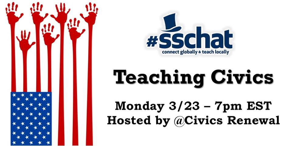 Join #sschat tonight at 7pm EST for Teaching Civics, hosted by @CivicsRenewal. RT to spread the word. #hsgovchat http://t.co/neMHU7wGji