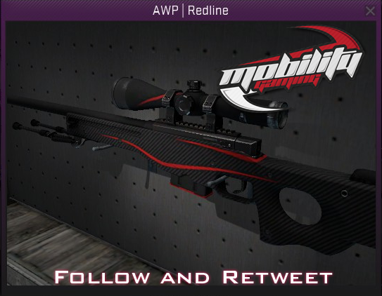 mobility gaming on twitter giving out an ak47 and awp redline at